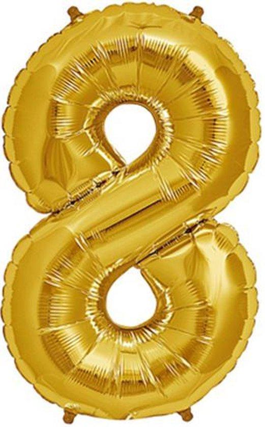 Helium ballon - Cijfer ballon - Nummer 8 - 8 jaar - Verjaardag - Goud - Gouden ballon -