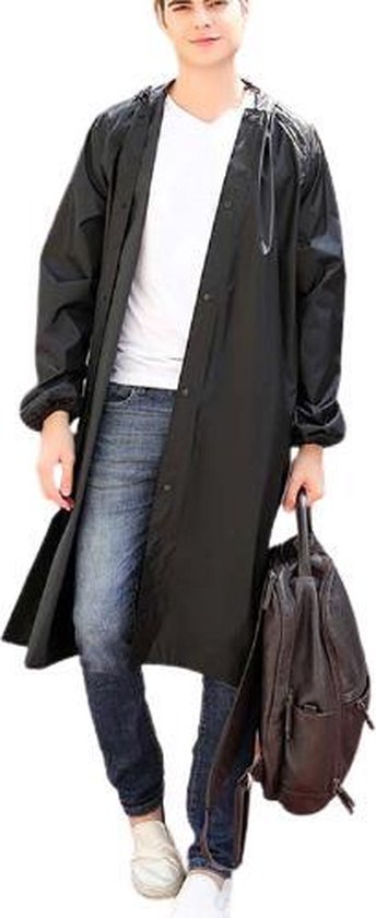 Regenjas ZWART (Maat XL) unisex - licht gewicht - WATERDICHT - opvouwbaar - pocket size - reizen - dames - heren regenjas