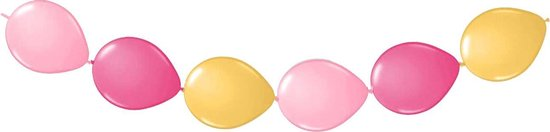 Doorknoop ballonnen, mix roze/goud, 10 stuks, ca. 3 meter