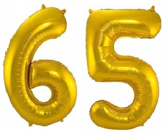 Folie ballon cijfer 65 jaar – 80 cm hoog – Goud - met gratis rietje – Feestversiering – Verjaardag – pensioen - Bruiloft