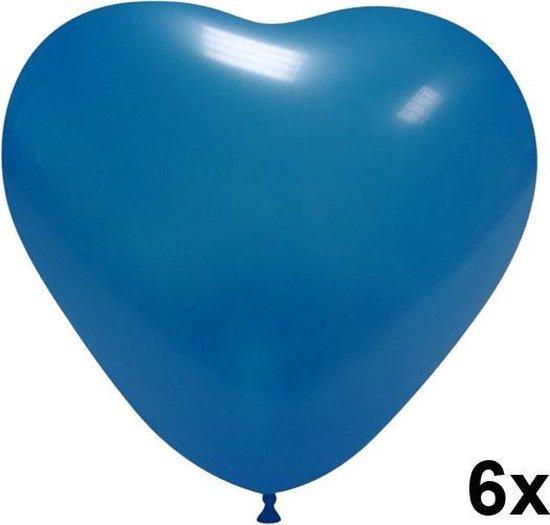 Hartjes ballonnen blauw, 6 stuks, 28cm