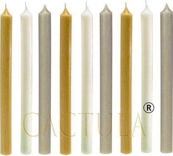 Cactula mooie lange dinerkaarsen 28 cm in 3 Trendy Kleuren 9 stuks | Okergeel / Champagne / Taupe