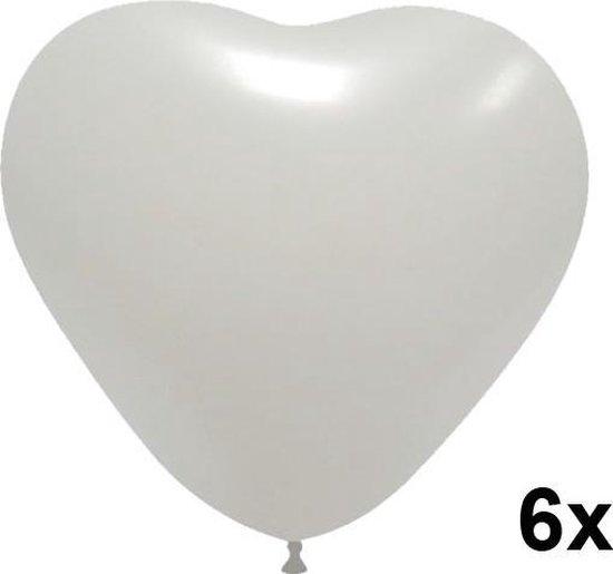 Hartjes ballonnen wit, 6 stuks, 28cm
