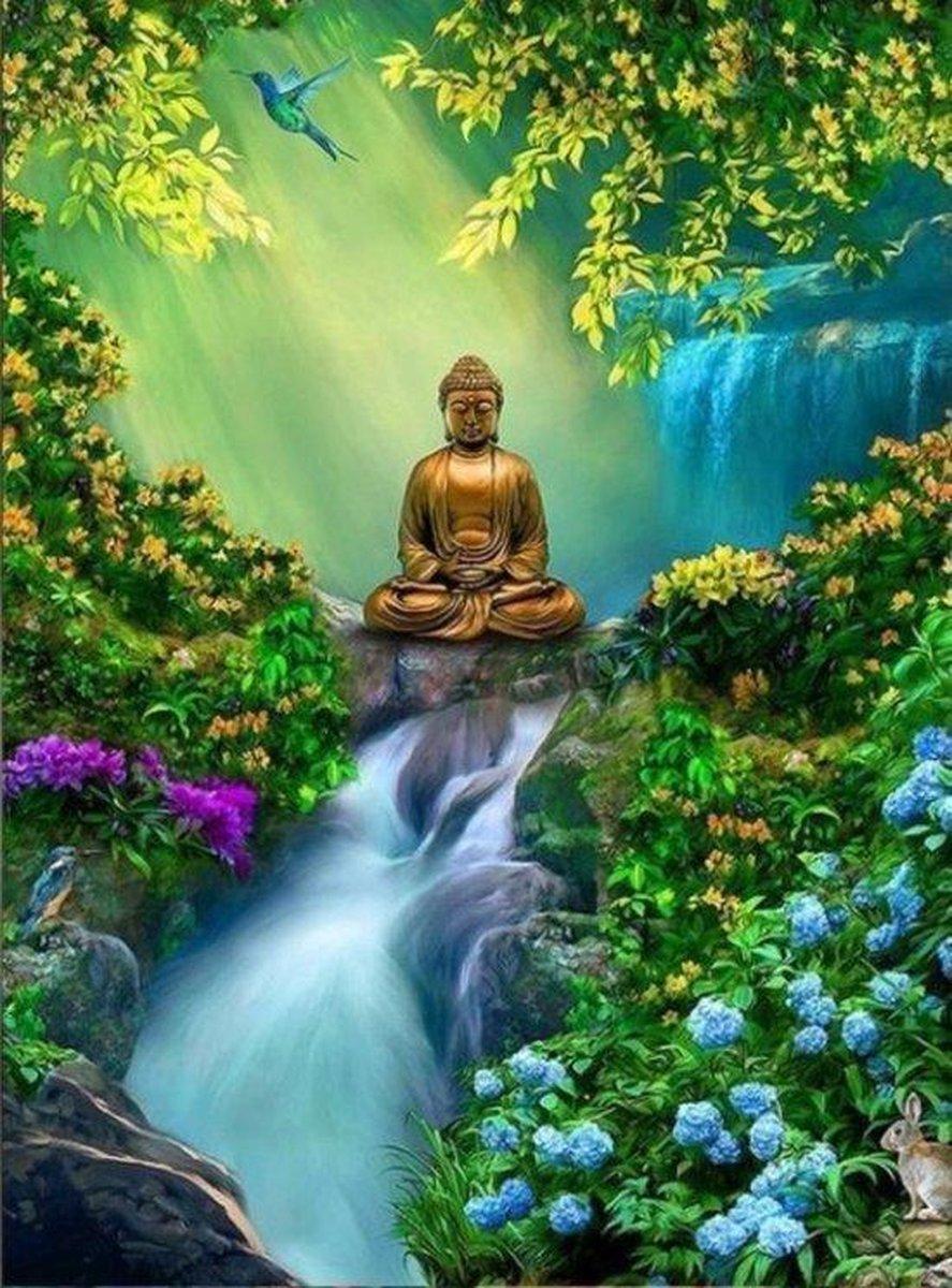 Premium Paintings - Boeddha / Buddha - Diamond Painting Volwassenen en Kinderen - Daimond Painting / Diamant Painting - Pakket volledig - 30x40 cm