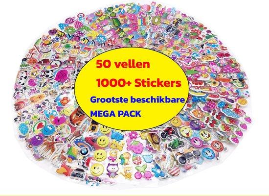 Afbeelding van 1000 stickers - 50 Stickervellen Voor Kinderen en Peuters - 3D Foam Stickers - Verschillende Sets - Mega Pack met enorm veel variëteit: dieren, autos, hartjes, sterren, dinos,  enz.