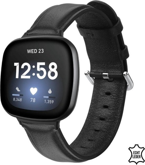Q-DESYN Fitbit Versa 3 bandje - Leer - Zwart - L