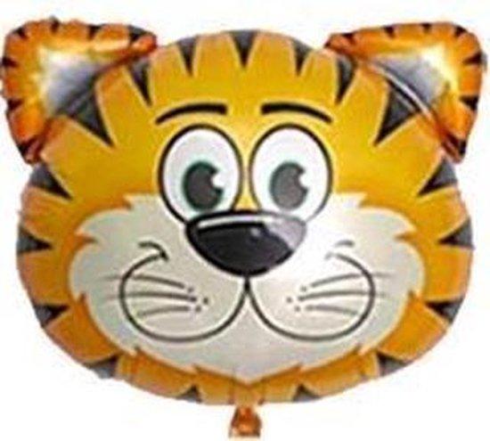 Tijger ballon - 71x76cm - XL - Ballonnen - Versiering - Thema feest - Verjaardag - jungle - Dieren - Jungle versiering - Folie Ballon - Helium ballon