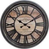 Wandklok bruin - diameter 49 cm - Woonkamer Klok Industrieel - Landelijke wandklok - Keukenklok - Vintage Klok -