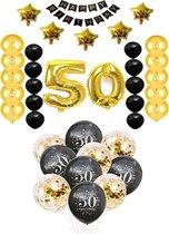 50 jaar Abraham Sara verjaardag feest pakket Versiering Ballonnen voor feest 50 jaar. Ballonnen slingers opblaasbare cijfers 50. 38 delig