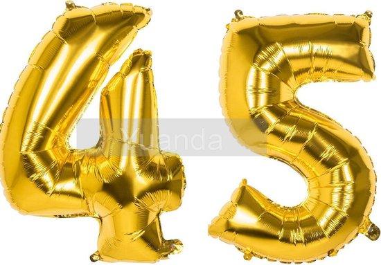45 Jaar Folie Ballonnen Goud - Happy Birthday - Foil Balloon - Versiering - Verjaardag - Man / Vrouw - Feest - Inclusief Opblaas Stokje & Clip - XXL - 115 cm