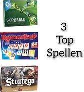 SpellenBundel Pakket 3 Stuks // Rummikub XXL - Gezelschapsspel  + Scrabble Original - Bordspel  + Stratego Original - Bordspel ( 3 STUKS )