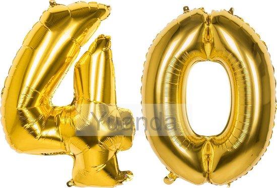 40 Jaar Folie Ballonnen Goud - Happy Birthday - Foil Balloon - Versiering - Verjaardag - Man / Vrouw - Feest - Inclusief Opblaas Stokje & Clip - XXL - 115 cm