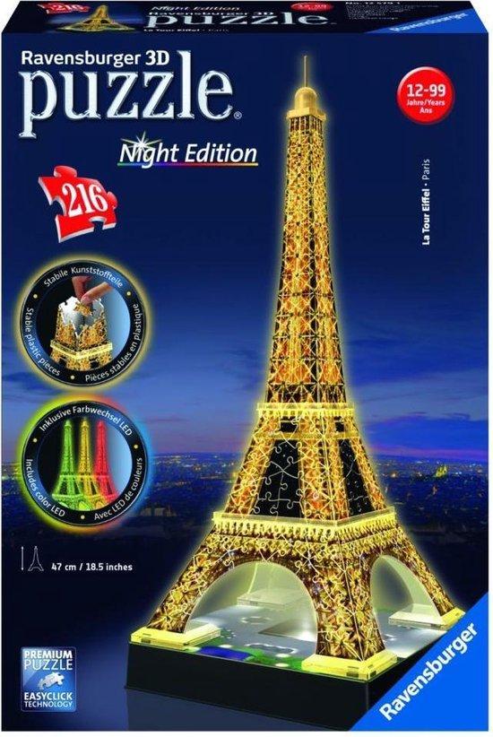 Ravensburger Eiffeltoren Night Edition- 3D puzzel gebouw - 216 stukjes