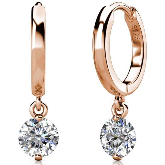 Yolora dames oorbellen met Zirkonia kristal - 18K Witgoud vergulde oorbellen - YO-E082-RG-CC
