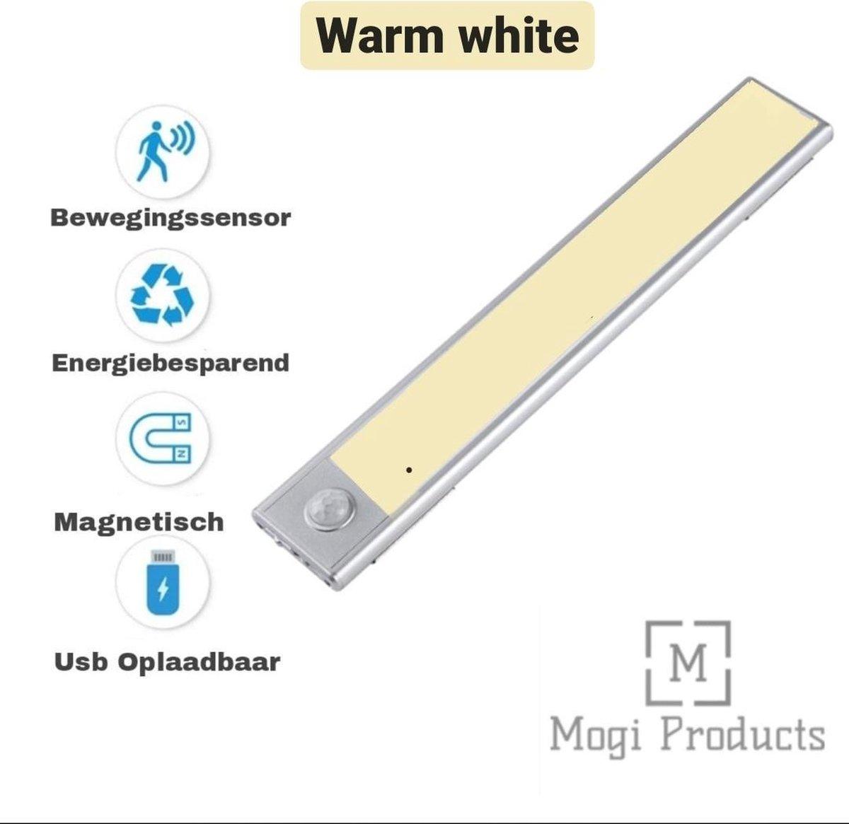 Mogi Products-Kastverlichting LED met bewegingssensor Warm white - Keukenlamp oplaadbaar - LED- Kast Verlichting Draadloos-Energiezuinig lampje - Led Strip-Led Lamp