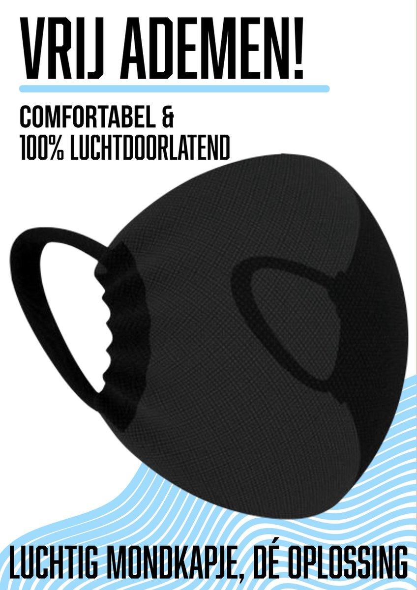 NIEUW ADEMEND Mondkapje wasbaar   Mondmasker niet medisch   Zwart   Brildrager   Herbruikbaar   Door