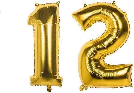 12 Jaar Folie Ballonnen Goud - Happy Birthday - Foil Balloon - Versiering - Verjaardag - Jongen / Meisje - Feest - Inclusief Opblaas Stokje & Clip - XXL - 115 cm