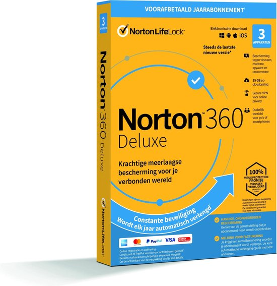 Afbeelding van Norton 360 Deluxe - Beveiligingssoftware - 3 Apparaten - 1 Jaar - Windows/MAC/Android/iOS Download