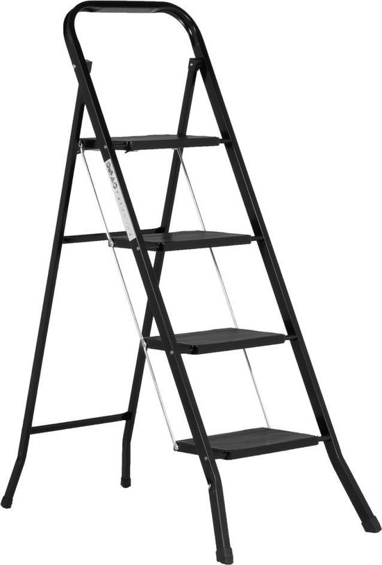 Huishoudtrap 4 Treden - Keukentrap Inklapbaar - Zwart - PP-Antislip - Max. Werkhoogte 93cm - Goets