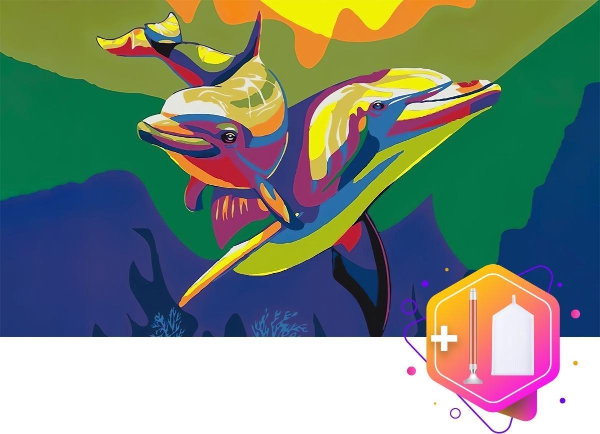 Pcasso® Twee dolfijnen Multicolor - Diamond Painting - Incl. LED-Pen, 4 Opzetstukjes En XXL Bakje - Diamond Painting Kinderen - Diamond Painting Dieren - Diamond painting volwassenen - 30x40 CM