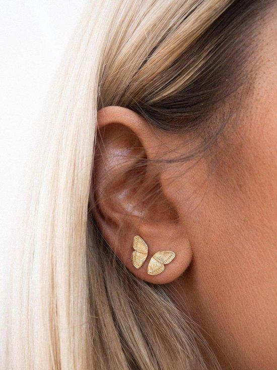 Oorbellen vlinder - goud - gold plated - ear party