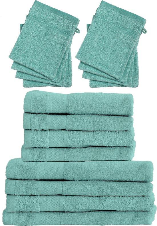 Set 4x Badhanddoeken 70x140 + 4x Handdoeken 50x100 + 8x Washandjes - Blauw - Hotelkwaliteit