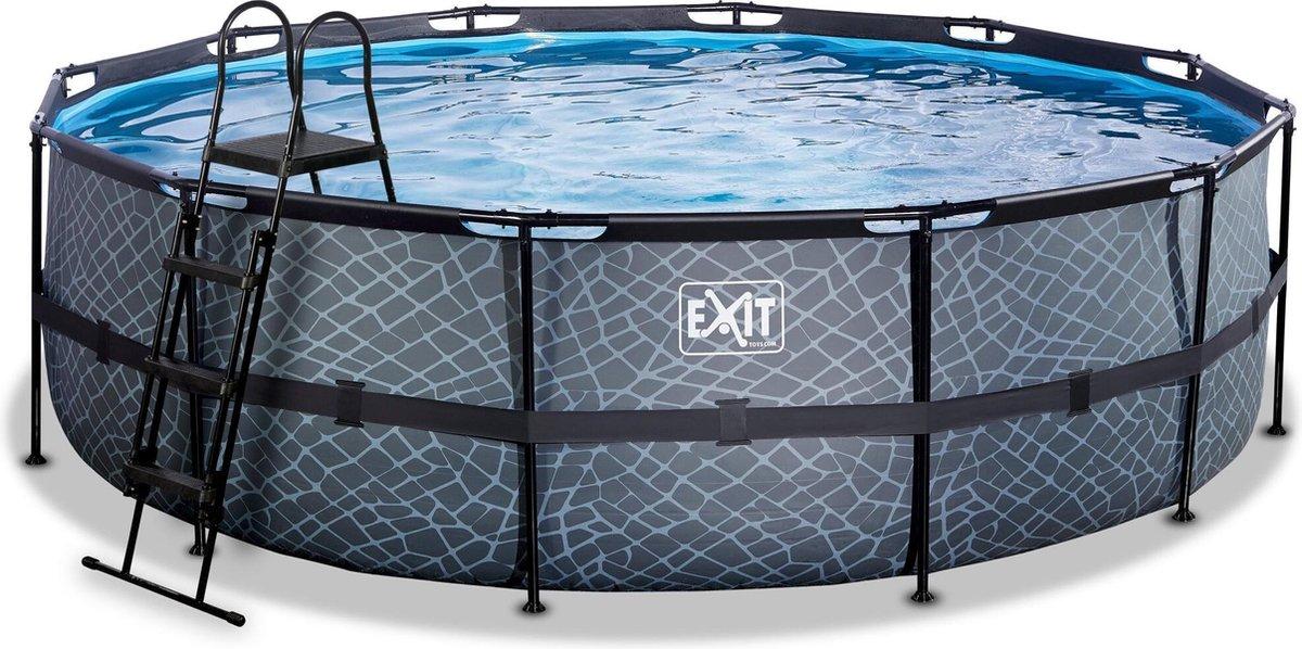 EXIT Stone zwembad ø488x122cm met zandfilterpomp - grijs