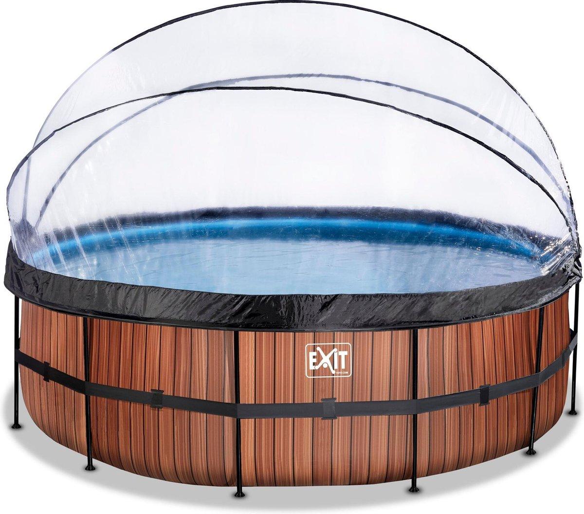 EXIT Wood zwembad ø450x122cm met overkapping en zandfilterpomp - bruin