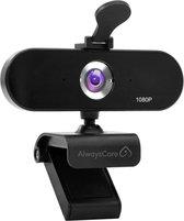 Webcam voor PC met Microfoon, 2 MP Full HD voor Helder Beeld en Geluid - Webcam met Microfoon - Full HD Webcamera - Thuiswerken -  AlwaysCare™ Webcams - Inclusief GRATIS Tripod en Webcam Cover