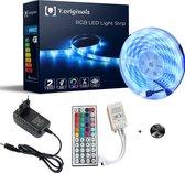 5050 LED strip - LED Light Strip - LED strip 5 meter - RGB - zelfklevend- met afstandsbediening- 44 keys RGB met batterij- IP20- wit en instelbaar op 12 andere kleuren