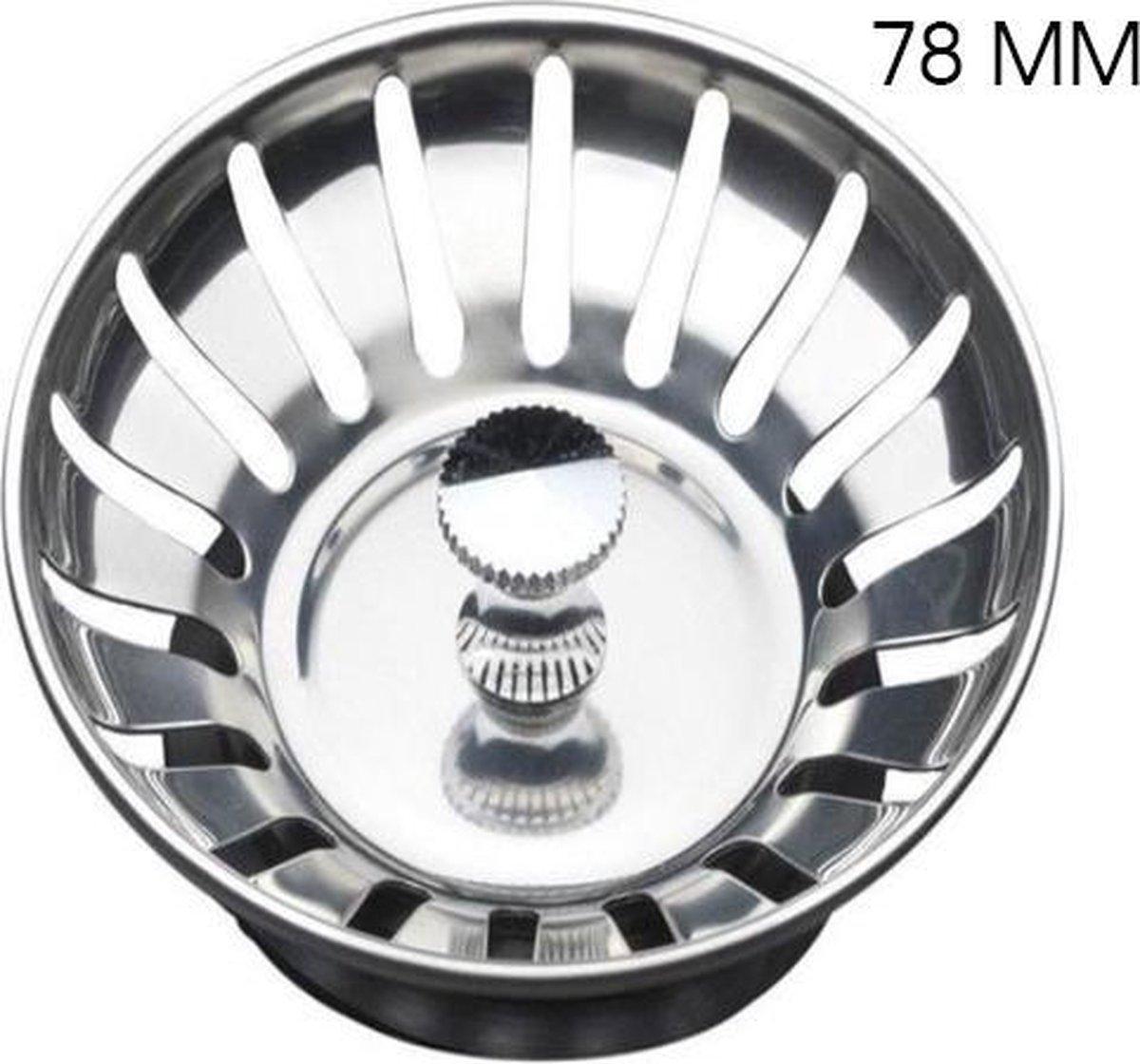 Luxe Afvoerzeef RVS 78 mm - afvoerstop - korfplug - gootsteenstop - korfplug gootsteen