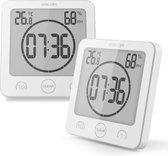 BALDR Luxe Douche timer - Douchewekkers - wit - zuignap - touch knoppen - waterdicht - kind vriendelijk - LCD scherm - klok - temperatuur - vochtigheid - zandloper
