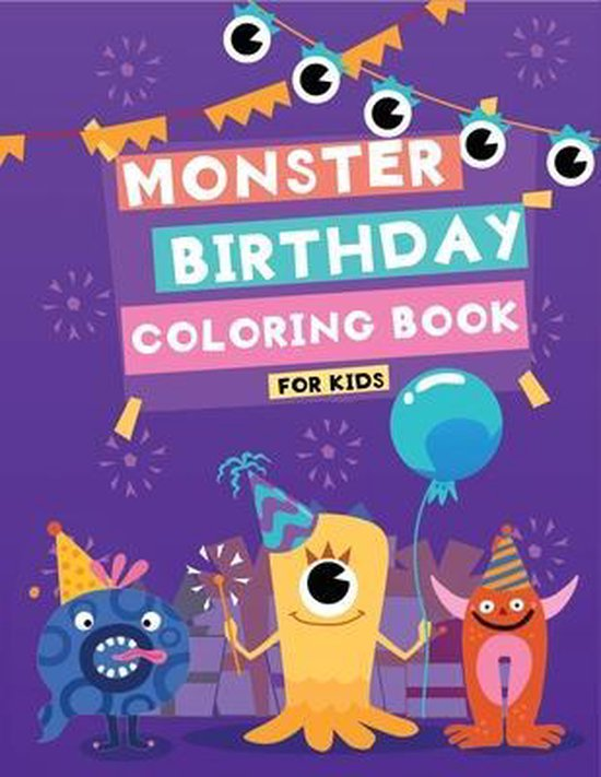 monster birthday coloring book for kids