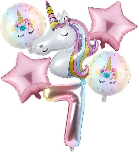 Set van 6 Stuks Unicorn / Eenhoorn ballonnen Verjaardagsfeestje Decoraties ( 7 jaar)