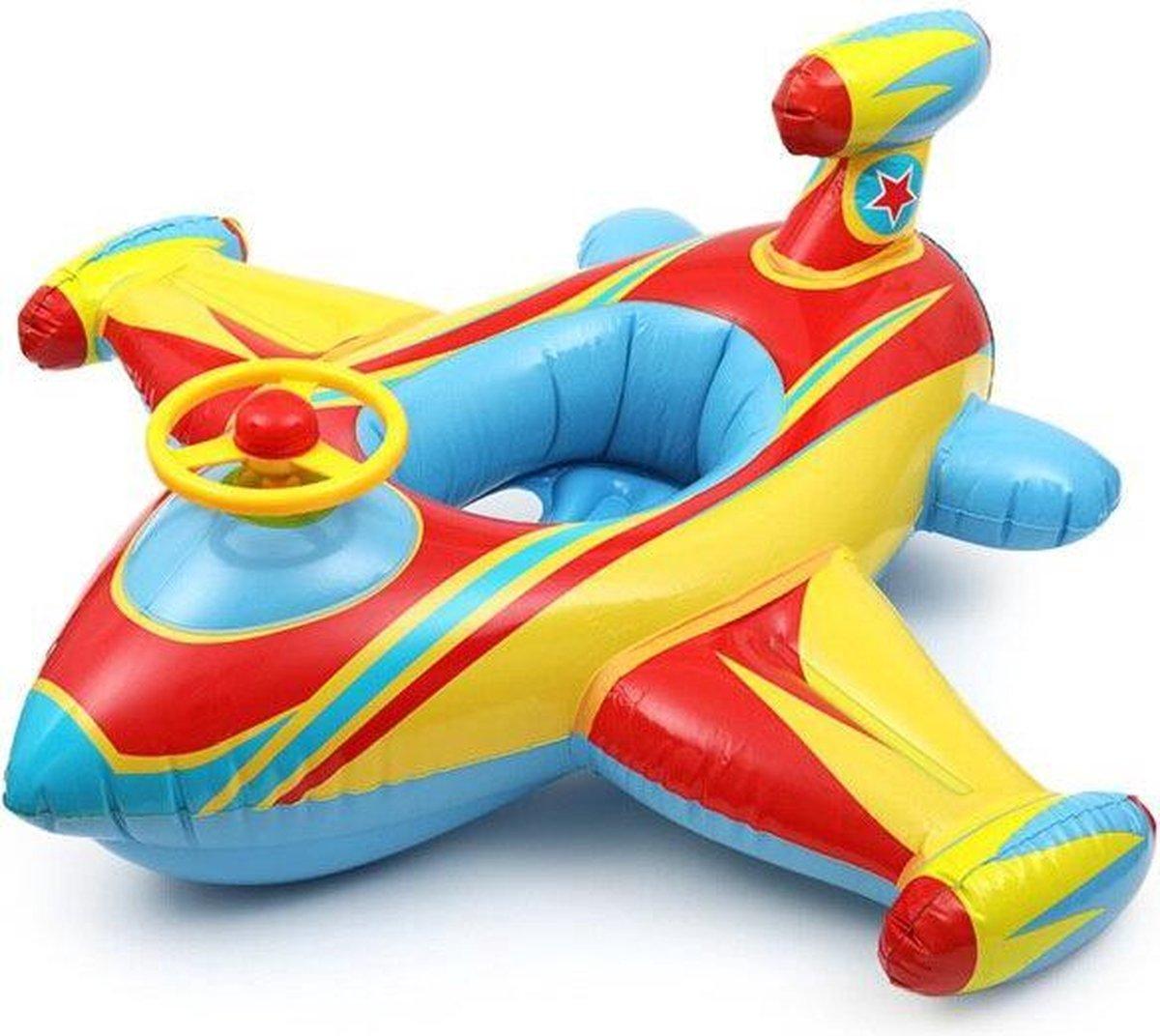 Intex - Opblaasfiguur - Voertuig - Vliegtuig - bootje -Opblaasbare Geel Vliegtuig met stuur en toeter - Zwemspeelgoed - Peuter Speelgoed - Zwemband -
