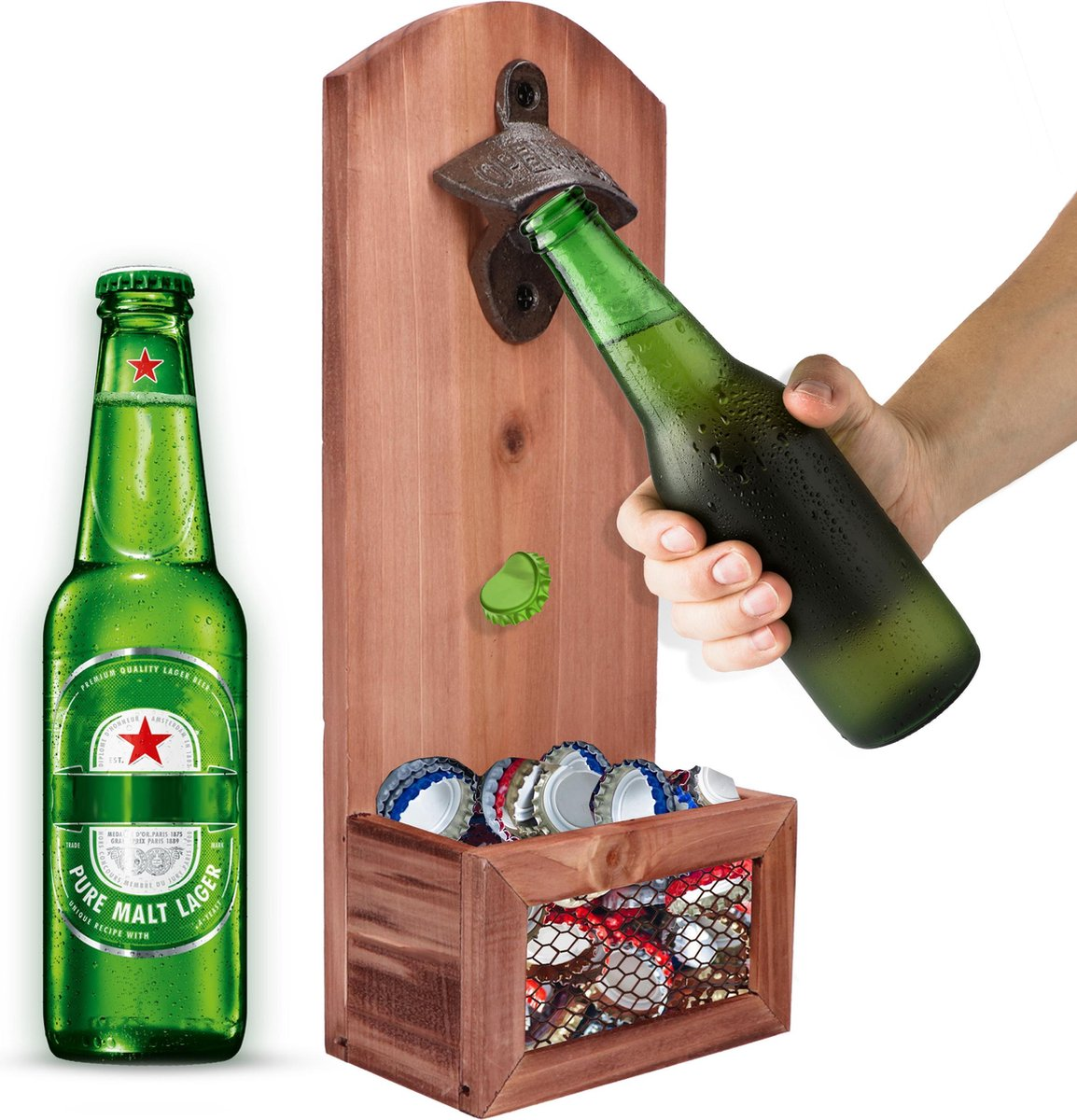 Bieropener en flesopener muur met opvangbak - Flessenopener - Opener bier - Voor binnen en buiten
