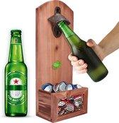 Bieropener en flesopener muur met opvangbak - Flessenopener - Wand - Hout - Opener bier - Voor binnen en buiten