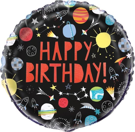 UNIQUE - Zwarte space aluminium Happy Birthday ballon - Decoratie > Ballonnen