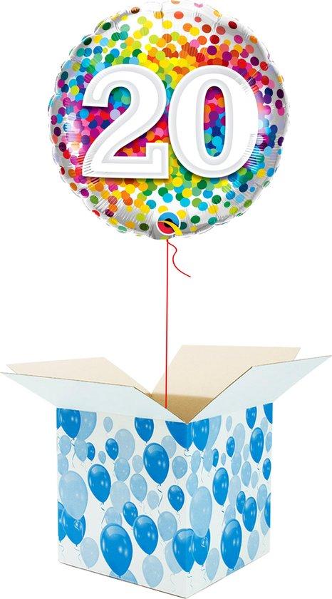 Helium Ballon Verjaardag gevuld met helium - 20 Jaar - Confetti dots - Cadeauverpakking - Happy Birthday - Folieballon - Helium ballonnen verjaardag