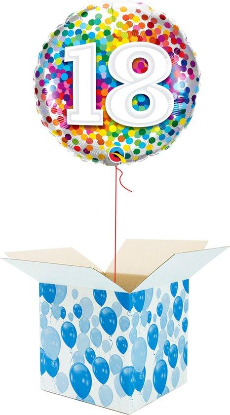 Helium Ballon Verjaardag gevuld met helium - 18 Jaar - Confetti dots - Cadeauverpakking - Happy Birthday - Folieballon - Helium ballonnen verjaardag