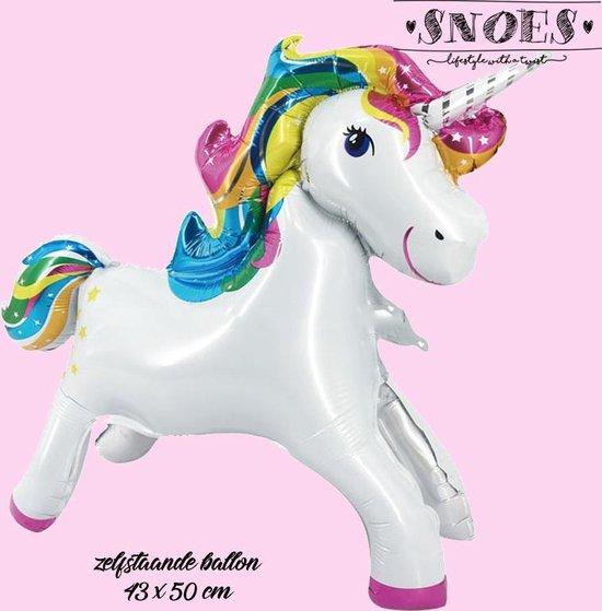 Eenhoorn Ballon * Snoes * Zelfstaande Unicorn Ballon  43 x 50 cm * Let the Magic Happen * Verjaardag * Verrassing Unicorn Ballon
