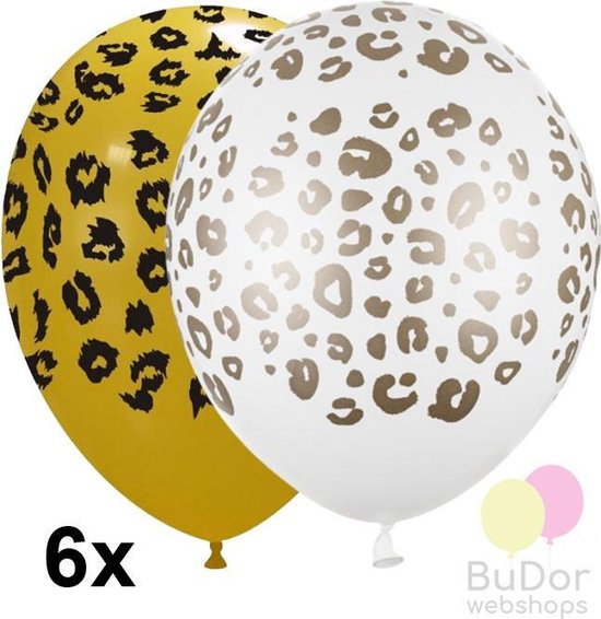 Dierenprint ballonnen luipaard spots, geel en wit, 6 stuks, 30cm