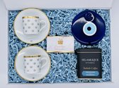 The Blue Evil Eye Gift Box - Espresso mok - Turkse Koffie - Nazar - Fincan - Boze Oog - Selamlique - Nazar boncugu - Cadeau - Gift box - Turk kahve