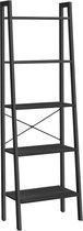 MIRA Home - Boekenkast met 5 planken - Boekenrek - Industrieel - Hout - Metaal - Zwart - 34x56x172