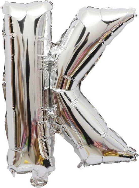 Folieballon / Letterballon Zilver - Letter K - 41cm