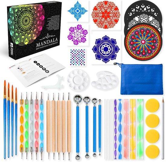 Afbeelding van Happy Painter® Mandala Dotting Starter Tools Set 45 delig Dot Painting incl. opbergtas en Tutorial in luxe verpakking speelgoed