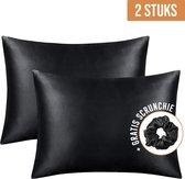 STFF & Co® Satijnen Kussensloop – 2 Stuks – Anti Age Silk – Zijden Kussensloop – Satijn  Haarverzorging – Krullend Haar Producten – Huidverzorging – 60x70 cm – Zwart
