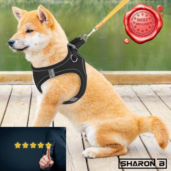Hondentuigje maat M - Zwart - Voor middelgrote honden - Comfortabel en Zacht - Reflecterend - Controle en rust bij hond en baasje - 5 jaar garantie