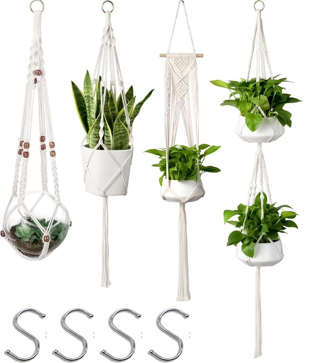 4 Stuks Luxe Macrame Plantenhangers - Boho Handgeweven Katoen Hangpot voor Binnen/Buiten - Hangende