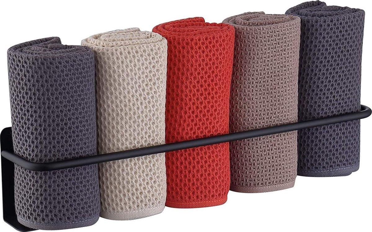 Handdoek Rek | Handdoekhouder | 40 cm | Zelfklevend | Roestvrij Staal | Mat Zwart